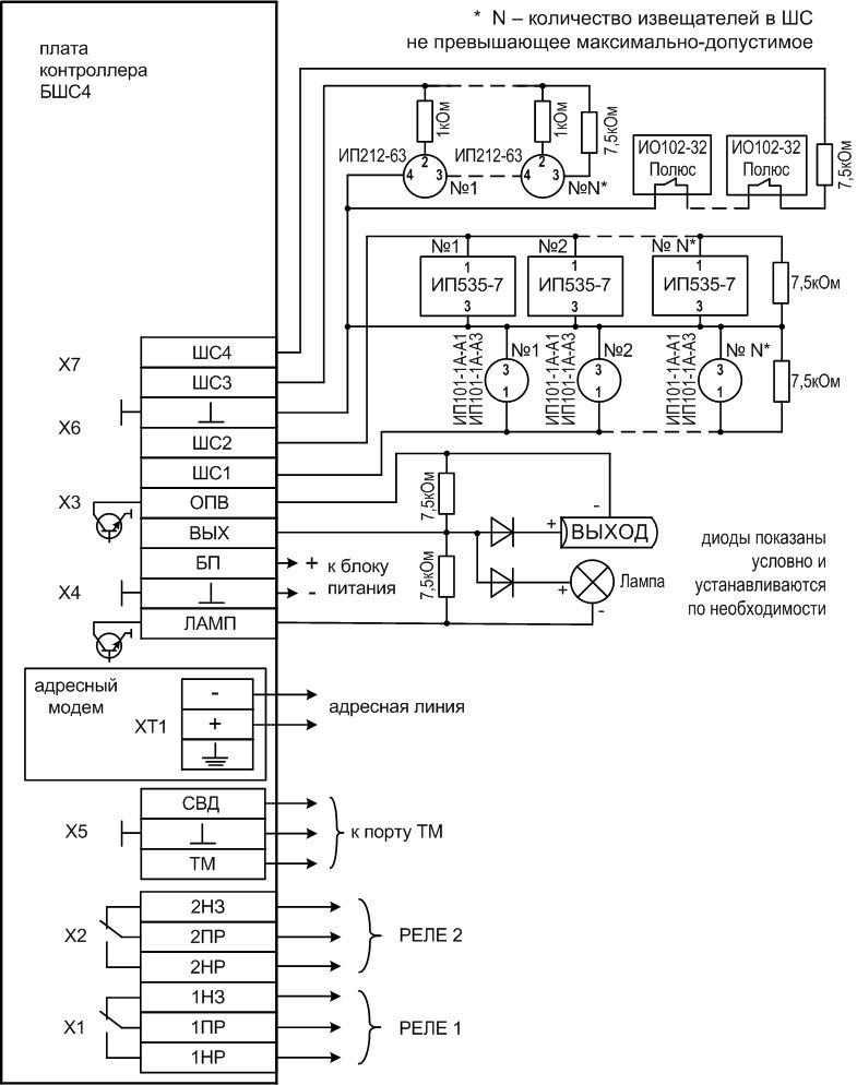 Схема внешних соединений БШС4П