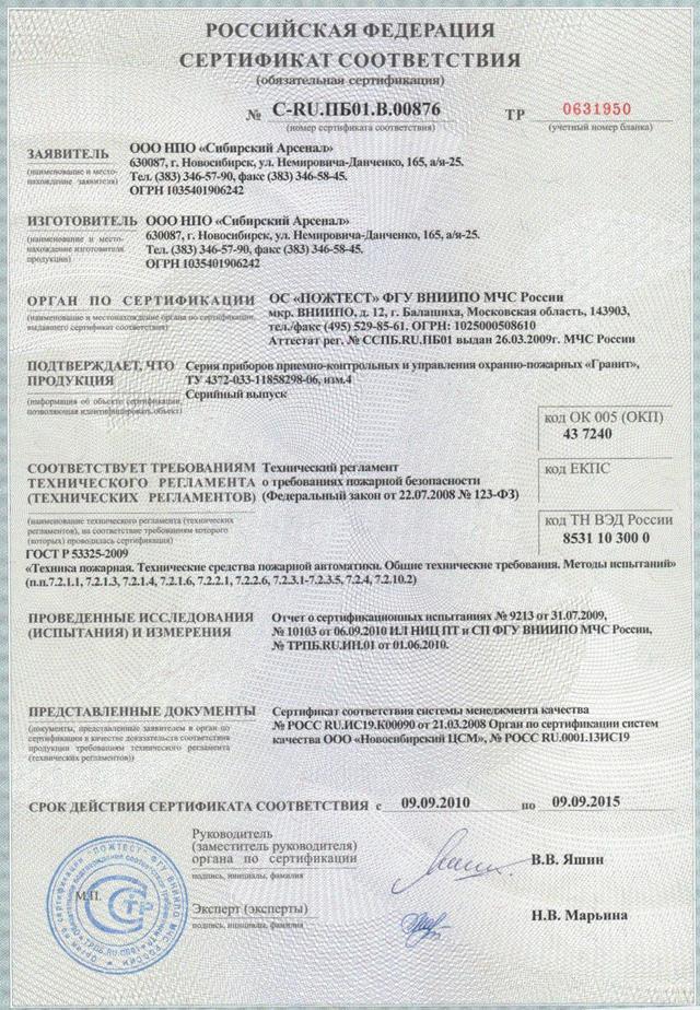 Сертификат соответствия. С-RU.